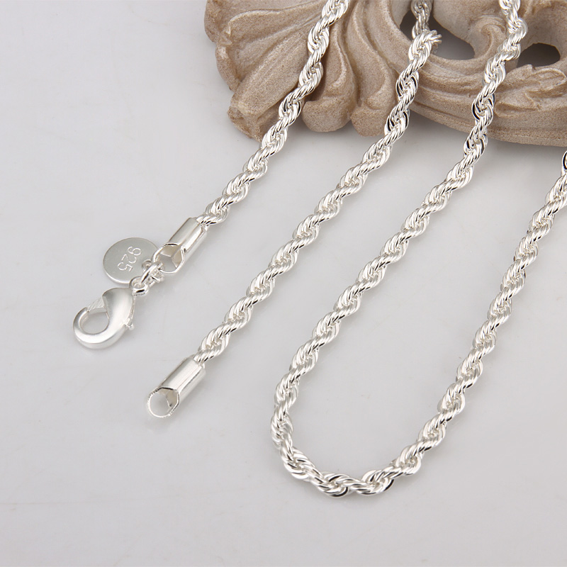 wholesale price 16 24 inch 3 mm twisted chains necklaces 925 sterling sivler jewelry fine silver