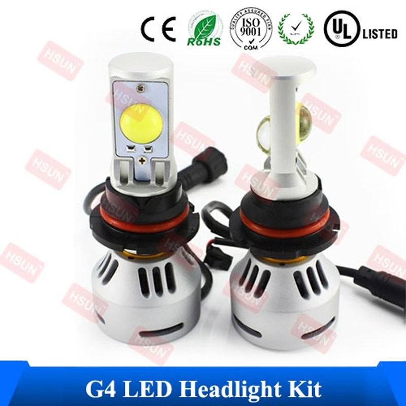 Free Shipping 2 PCS 60W 6400Lumen Led Auto Light Super Bright HID Bulb Special Led Fan On The Bottom Design H4 H13 Head lamp(China (Mainland))