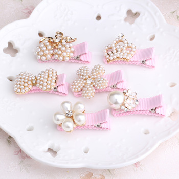 1pc Girls Hair Accessories Delicate Pearls Hairpins Crown Flower Shaped Baby Pink Hair Ornaments Princess Headwear Hair Clip