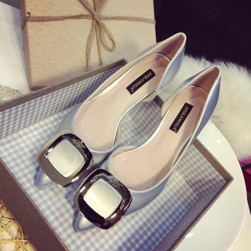 Metal mark women's pointed toe shoes cutout high-heeled shoes single shoes women's Pumps(China (Mainland))