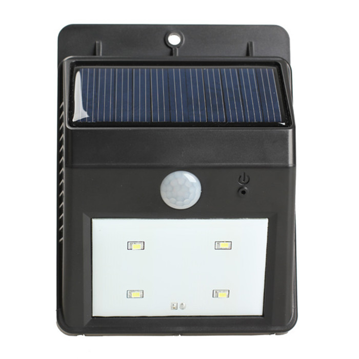 Solar power 4led pir d tecteur de mouvement jardin lampe de mur ext rieur pour tanche jardin for Lampe de jardin detecteur de mouvement
