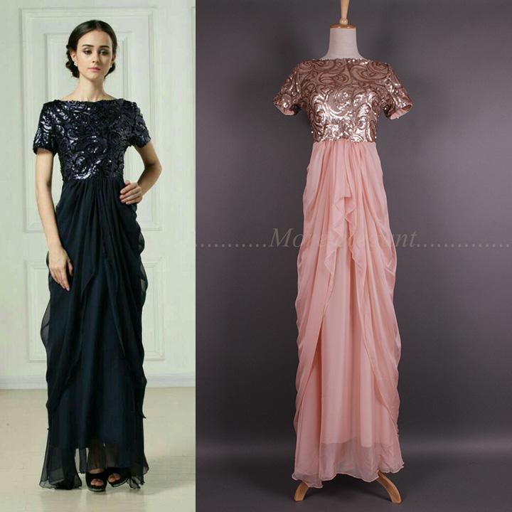 2015 Fashion Gorgeous Paillette Irregular Short Sleeve Patchwork Dress Women Long Formal Dress Full Dress(China (Mainland))