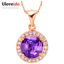 One Piece Women's Necklace Suspension Jewelry Rose Gold Plated Purple Crystal Collares Bijoux Femme Red Pendant Uloveido N565(China (Mainland))
