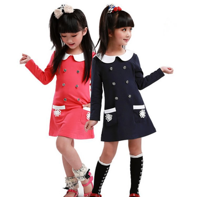 College Spring 2015 New Style Girls Dress Children Long-sleeved Dress Lapel Baby Girls Dress Girl Party Dress Girls Clothes(China (Mainland))