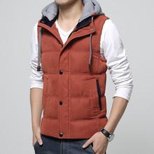 Casual Men Vest Men Slim Fit 2016 Waistcoat Hat Detachable Outdoor Sport Winter Warm Gym Clothing Khaki Men Vest 4XL 4 Colors(China (Mainland))