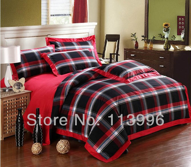 black red yarn dyed simple plaid cotton comforter bedding