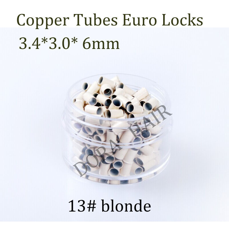 1000pcs 3.4*3.0*6.0mm flared Euro locks Micro copper tube Rings links beads for Human Hair Extensions tool 13# blonde(China (Mainland))