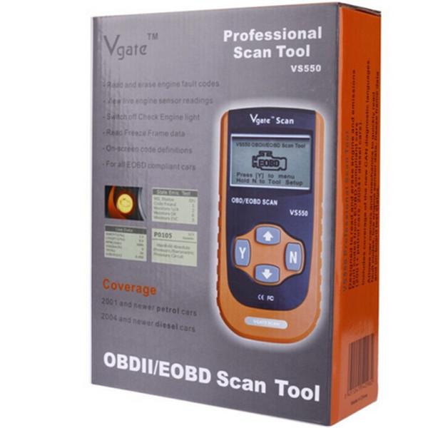 10pcs/lot Automotive OBD II OBD2 OBDII ODB Diagnostic Code Reader Scanner Scan tool VS550 VgateScan OBD/EOBD Scan Tool(China (Mainland))