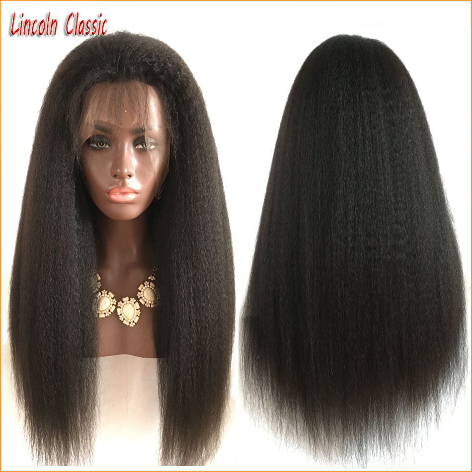 Thick Hair 150 Density Kinky Straight Full Lace Human Hair Wigs Brazilian Virgin Hair Glueless Full Lace Kinky Straight Wig