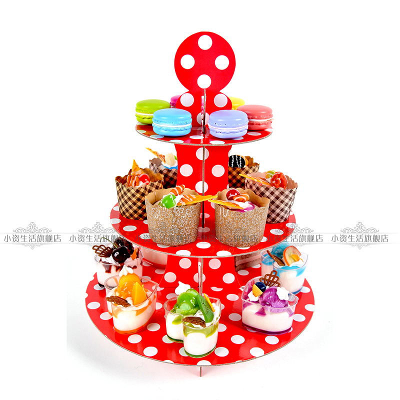 3 Layers Red Polka Dot Sugar Lollipop Dessert Western Cupcake Paper Board Cake Stand for Party Decoration(China (Mainland))