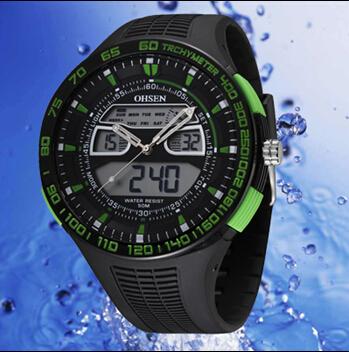 Freeshipping 2pc/lot hot sale quality guranteed OHSEN brand sports men's watch,30M deep waterproof,dual quartz digital movement(China (Mainland))