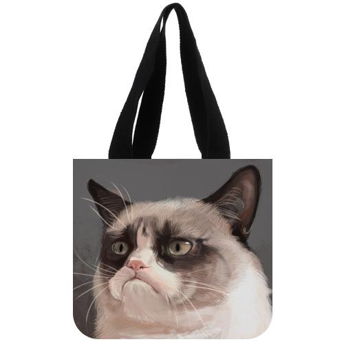 Stylish Canvas Tote Bag Custom Funny Cat Tard the Grumpy Cat Tote Bag 02(China (Mainland))