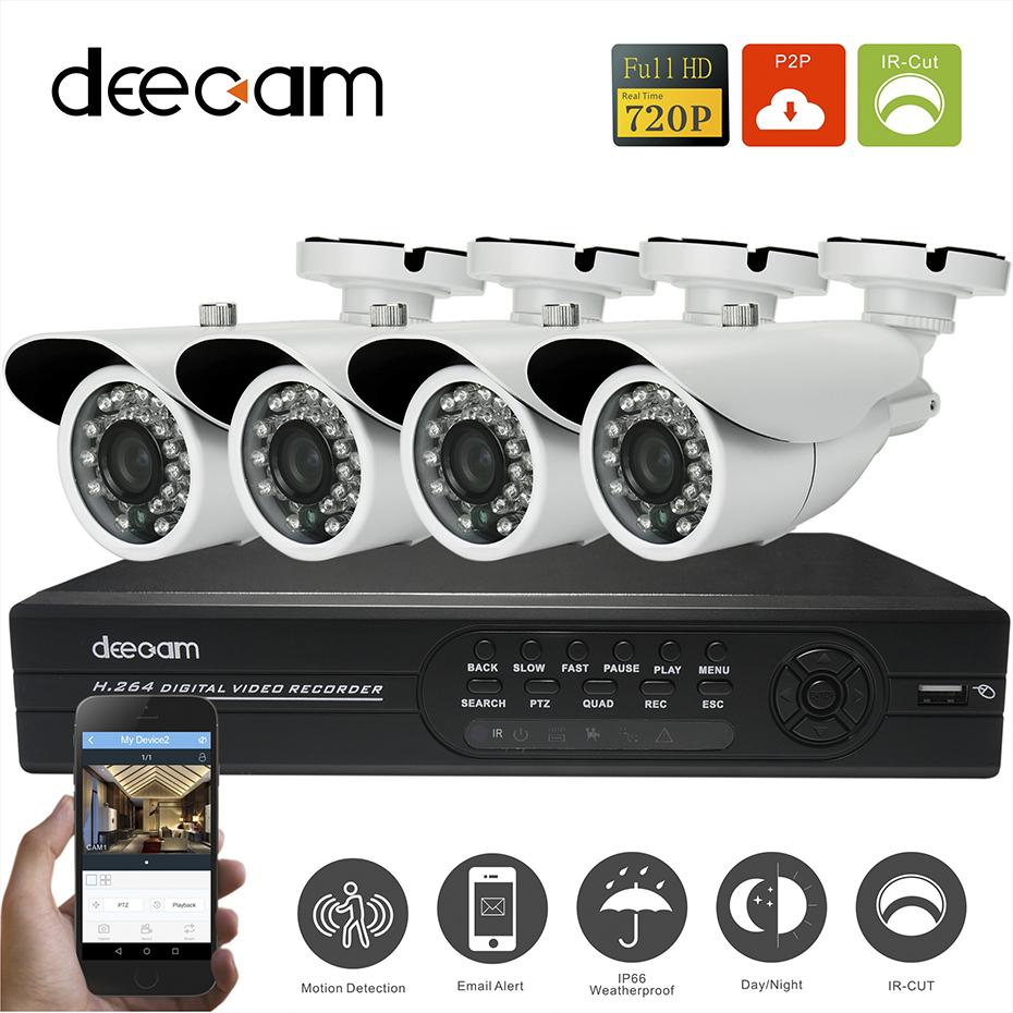 Deecam 4ch CCTV System DVR Recorder Night Vision Home Security Camera System 720P HD Video Recorder Set Camaras De Seguridad(China (Mainland))