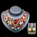Lan palace austrian crystal jewelry set gold plated dubai Rhinestone necklace and earrings for wedding six