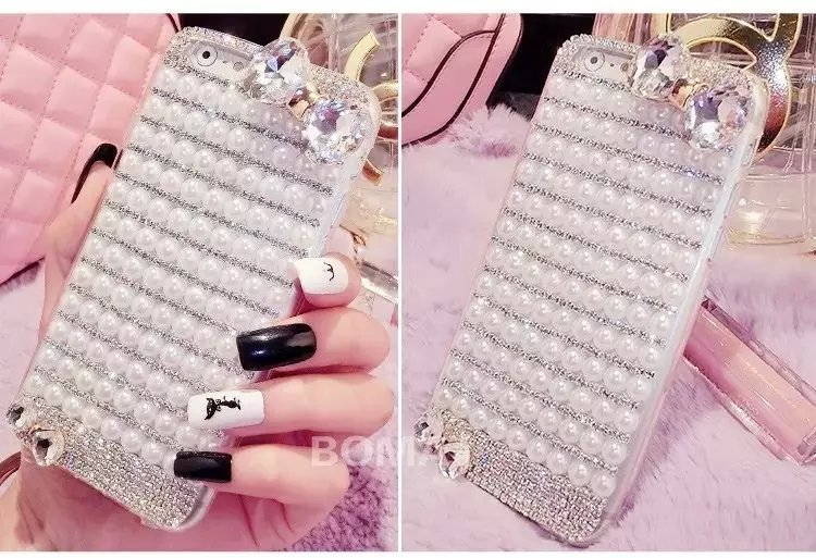 "Luxury Glitter Bling Full Pearl Back Skin Cover For iphone 6 plus/6s plus 5.5"" Butterfly Rhinestone Case Gift(China (Mainland))"