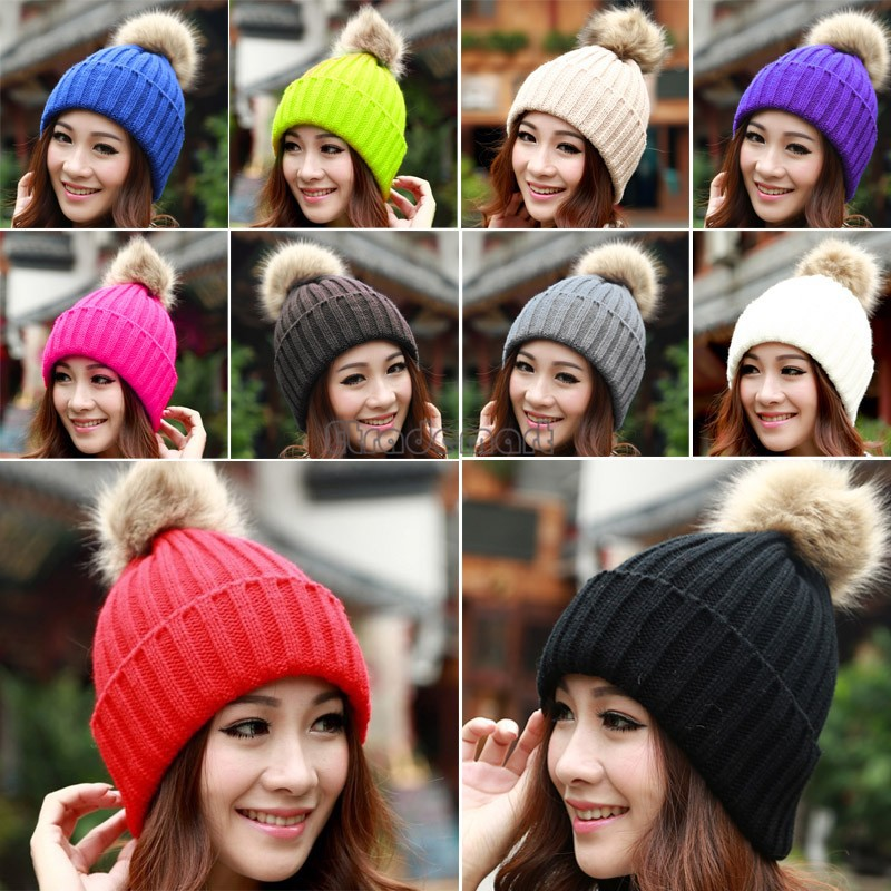 Winter Beanie Classic Tight Knitted Fur Pom Poms Hat Women Cap Winter Beanie Headgear Headdress Head Warmer Top Quality(China (Mainland))