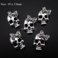 10pcs  bows skull glitter nail art decoration 3d alloy nail charms party manicure AM28-1