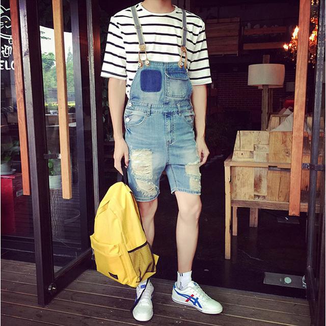 Мужская мода уменьшают подходящие нагрудник комбинезоны-мужчин отверстия рваные джинсы ...