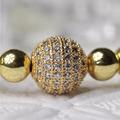 10mm CZ BEAD Round Beads Gold Brass Metal CZ Euro Beads For Bracelet DIY 80047