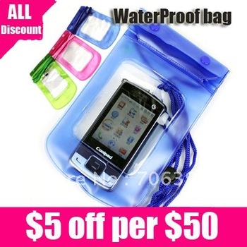 Free shipping Water Proof Diving Bag For Mobile Phones/Portable WaterProof Pouch Case 5pcs/lot
