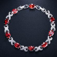 CWWZircons באיכות גבוהה כסף צבע צלב עגול מעוקב Zirconia נשים שרשרת קישור צמידי לחתונה כלה אביזרי CB008(China)