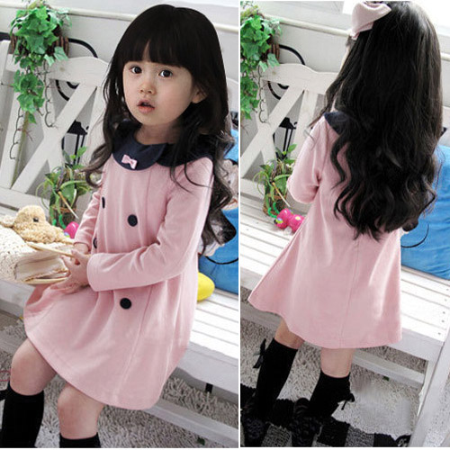 Elegant Double-breasted Bowknot Dress New Spring and Autumn Retail Girls Princess Baby Girl Dress Kids Children Dresses(China (Mainland))