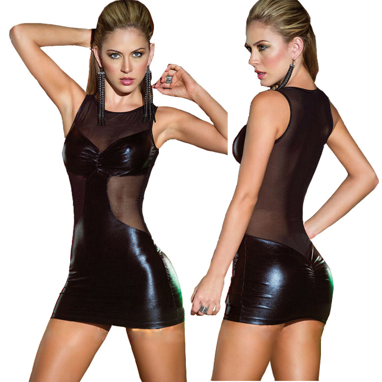 Erotic Clubwear Sexy Backless Perspective Dress Nightclub Dress Latex Mini Dress For Stripper Clothes Sexy Fetish Dress(China (Mainland))