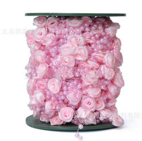 Pearl beads Free Shipping!30meters 4color satin rose garland wedding centerpiece flower candle decoration crafting DIY accessory(China (Mainland))