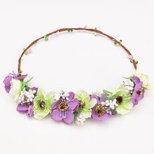 New sunflower Garlands Festival holiday head Flower Wreath Forehead Headband Multicolor Beach Wedding Hair Accessories Headwear