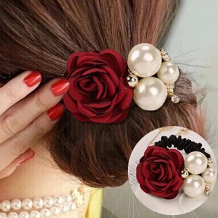 1pc Lady Elastic Rose Flower Scrunchie Ponytail Hair Band Rope hair clips for women headwear Summer Style Hair Accessories(China (Mainland))