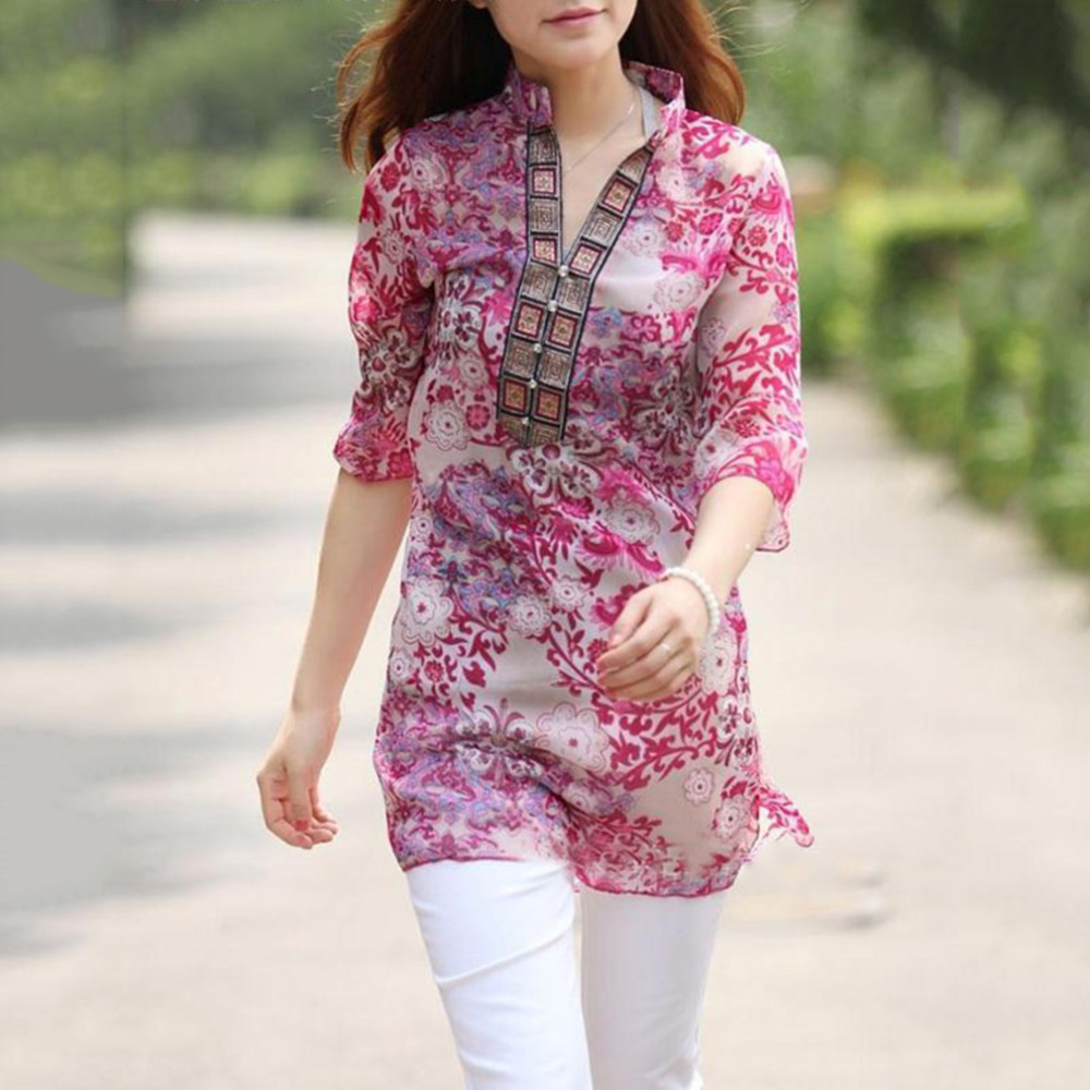 Women Shirt National Style Printed Large Summer Chiffon Ethnic Blouse Vintage Retro Shirt Fast Free Shipping New Hot Selling*$Одежда и ак�е��уары<br><br><br>Aliexpress