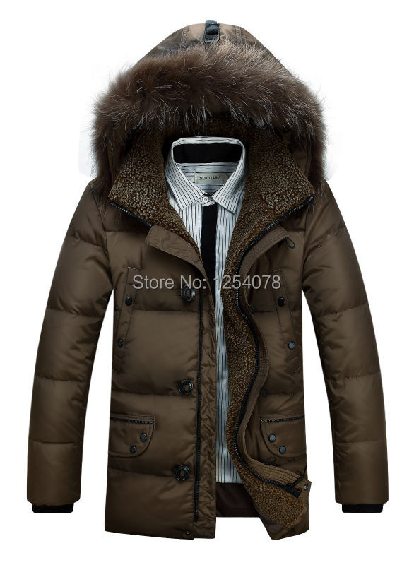 2014 new business hooded scarf winter coat duck down jacket men new brand and winter clothes