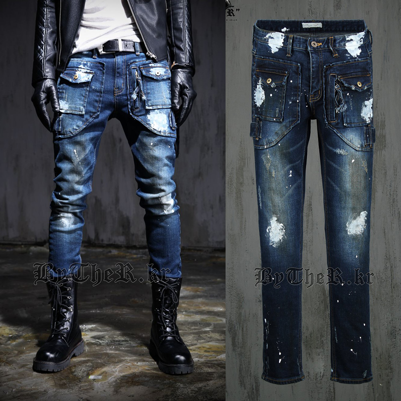 Those days Free shipping 2015 new slim all-match formal Korean style Night Club unique design men jeans(China (Mainland))