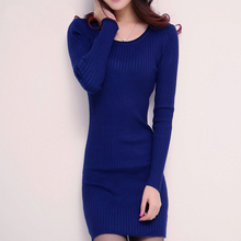 2015 autumn women sweater dress long sleeve o-neck slim knitted dress casual female winter bodycon dress D018(China (Mainland))