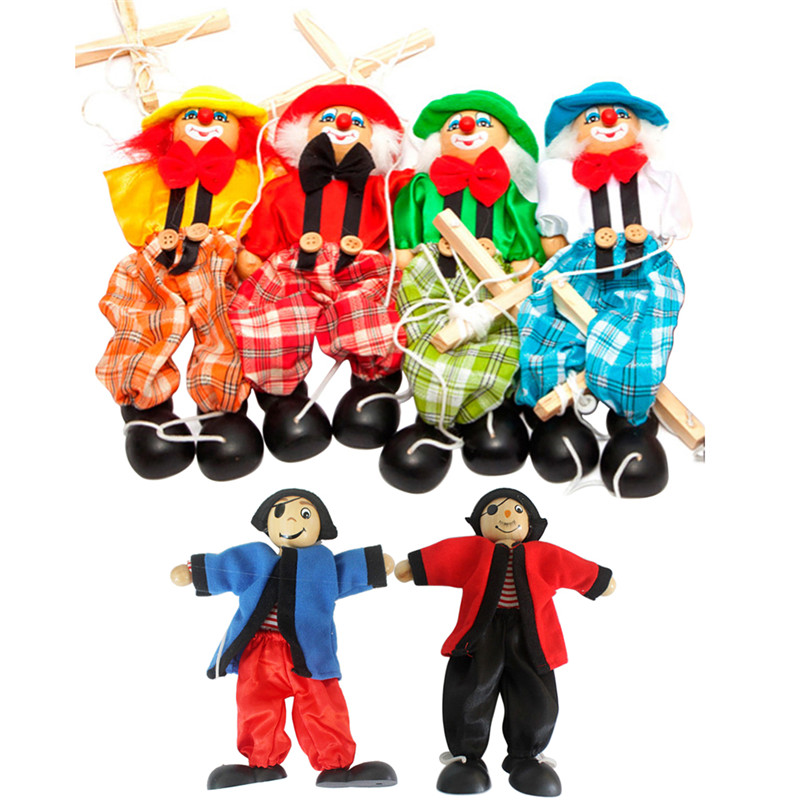 Baby toys Pull String Puppet Clown Wooden Marionette Toy Joint Activity Doll Vintage Funny Traditions Classic Toy(China (Mainland))