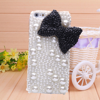 1PC free shipping Handmade big black bownot cover for iphone 4 4s case white pearl phone bag protective sleeve shell