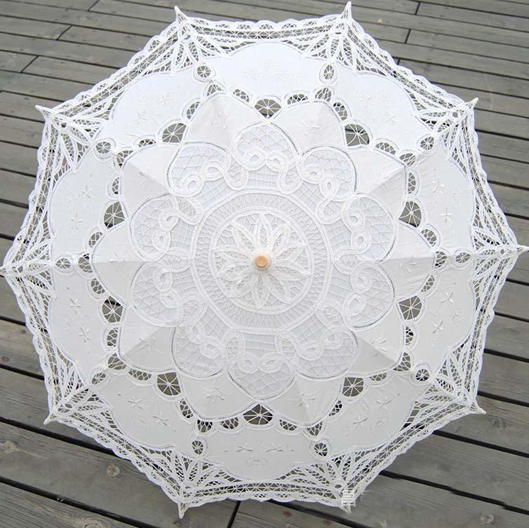 2015 White Lace Bridal Umbrella In Stock Romance Wedding Parasol Vintage Lace Bridal Parasols