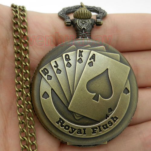 Antique Bronze Royal Flush Poker Cards Pocket Watch Necklace Chain Xmas Gift P80(China (Mainland))