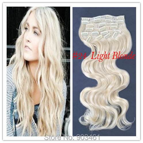 """Freeshipping TOP Quality Kanekalon Expression Synthetic Hair Weave 10pcs#24 Light Blonde 20""""24"""" 150g170g Clip In Hair Extensions(China (Mainland))"""