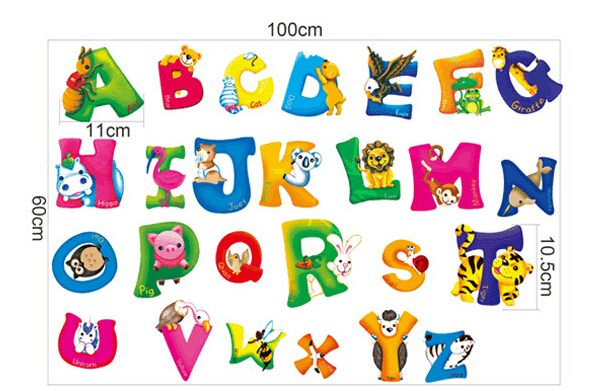 Learn reading cartoon children's room background decorative stickers puzzle wall stickers home decor english alphabet colorful(China (Mainland))