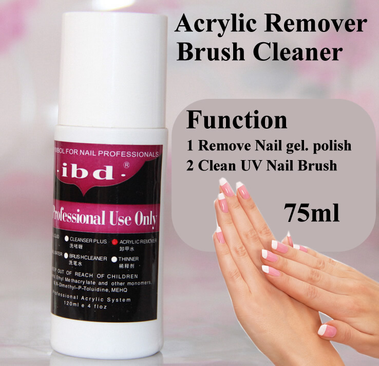 1 pcs Ibd 75ml UV gel polish Acrylic Remover and Brush Cleaner Liquid For Nail Art Powder Nail Tips(China (Mainland))