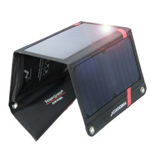 Solar Charger PowerGreen 21 Watts Foldable Solar Power Bank Folding SUNPOWER Panel for Mobile Phone (Red)