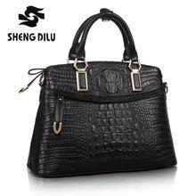 2016 Fashion Crocodile Pattern Famous Designer Brand Bags Women Genuine Leather Handbags Luxury Quality Ladies Shoulder Bags