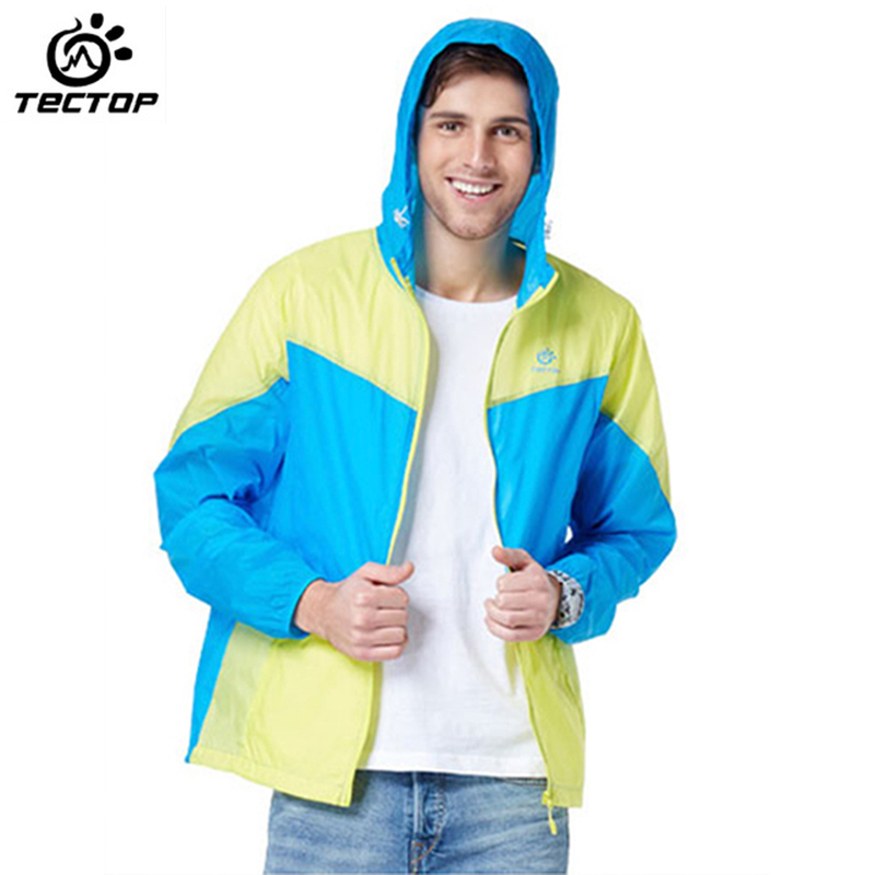 TECTOP New Summer Fashion Outdoor Camping Hiking Waterproof Quick Dry Super Thin Hooded Jackets Men Sun Protection Trekking Coat(China (Mainland))