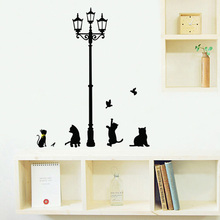 Cartoon street lamp Cat Vinyl Wall stickers Wallpaper Wall Sticker Removable home Decor office room Decals house Art Sticker