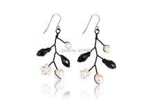 DORMITH 925 sterling silver natural fresh water pearl black crystal drop earrings for women jewelry(China (Mainland))