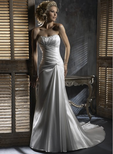 a14 vestido de noiva 2014 fashionable sexy sweetheart satin pleat simple train lace up wedding dress bride bridal gown dresses(China (Mainland))