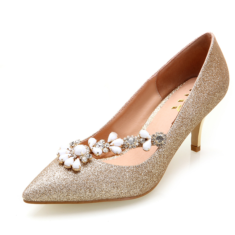 2016 High-Heeled Wedding Shoes Female Gold Women's Pointed Toe Shoes Red Beaded Rhinestone Bridal Shoes Single Shoes(China (Mainland))