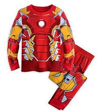 Children's Cartoon Captain America Iron Man spider-man Pajamas Baby Boys Sleepwear Kids Super Heros+Cloak clothes set
