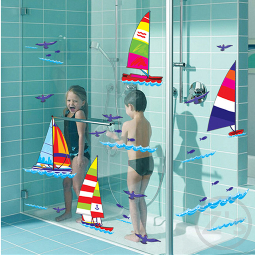 sport Sailboat Ship at sea wall sticker for shower tile stickers in the bathroom for children kids baby on bath AY7030(China (Mainland))